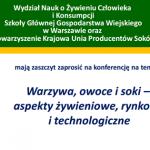 Konferencja: Warzywa, owoce i soki – Warszawa (29.11.2016)