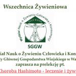 Transmisja online: Wszechnica SGGW: Choroba Hashimoto – leczenie i żywienie