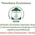 Transmisja online: Wszechnica SGGW: Alergie pokarmowe a diety eliminacyjne