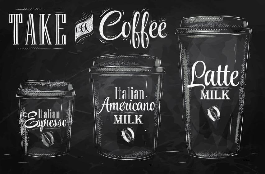 kawa z mlekiem różne