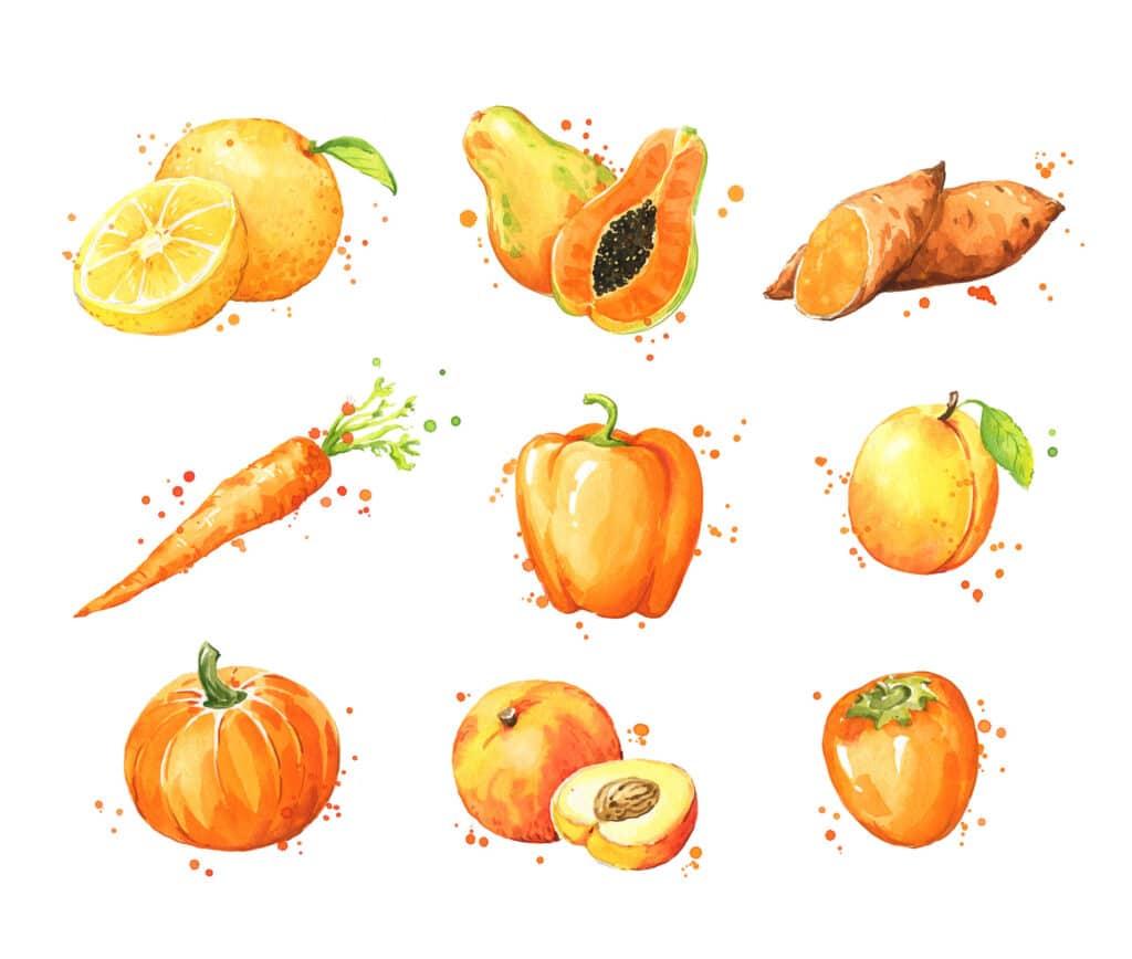 pomarańczowe owoce i warzywa