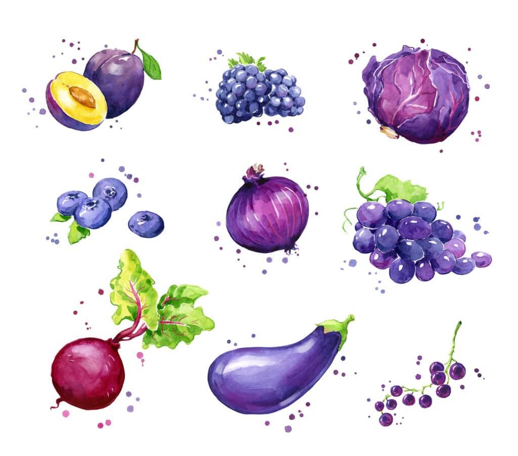 fioletowe owoce i warzywa
