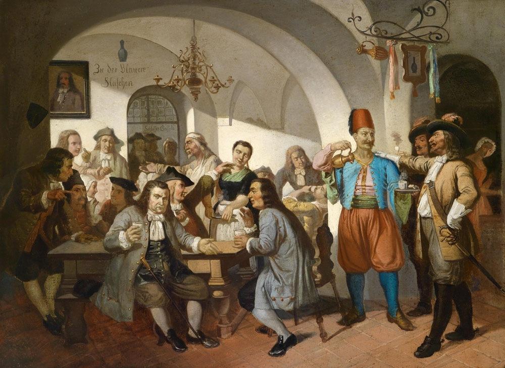 """""""Zu den blauen Flaschen"""", Altwiener Kaffeehausszene, Öl auf Leinwand, 63 x 100 cm"""